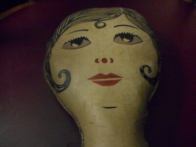 Vintage Rare Art Deco 1930's Flapper Leather-Naugyhyde Pillow Hair Salon Display