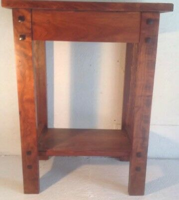 "Mission Style Dark Stained Solid Cherry Table Or Plant Stand 12""x18""x24"""