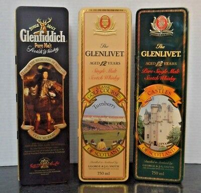 Three Advertising Tins by The Glenlivet  & Glenfiddich Scotch Whisky Co.