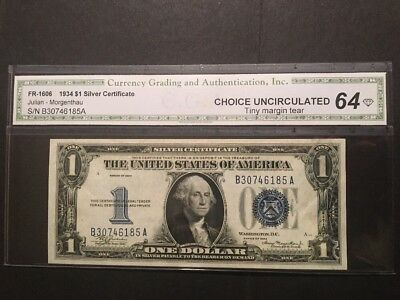 1934 United States $1 Silver Certificate  Fr#1606  Choice Unc 64