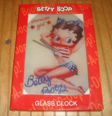 "2008 Betty Boop 9"" X 13.5"" Glass Wall Clock ""American Girl"""