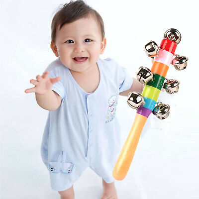 Rainbow Musical Instrument Baby Kid Toy Wooden Hand Jingle Ring Bell Rattle New