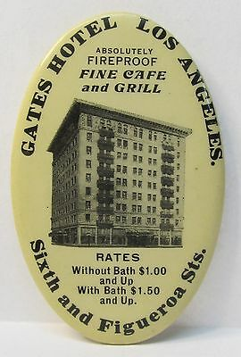 circa 1910 GATES HOTELS Los Angeles CALIFORNIA advertising pocket mirror *