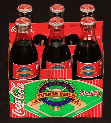 American Coca-Cola 6-Bottle Commemorative Set, Turner Field & Evander Holyfield