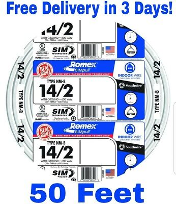 14/2 W/GROUND ROMEX Indoor Electrical Wire 100\' Feet - $29.86 | PicClick