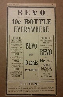 1919 Bevo Anheuser Busch 10c Bottle Everywhere Ad