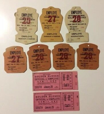 Golden Gloves Boxing Pass Tickets Lot(9) 1940s/1950s Chicago Stadium No Reserve!