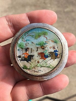 china chinese japanese silver little box with lid people playing polo antique