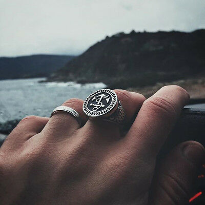 Mens 316L Stainless Steel Ring Mythical Anchor Biker Cool Rings Fashion Jewelry