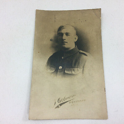 Vintage Military Postcard Unknown Soldier Portrait Real Photograph