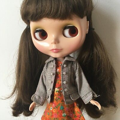 Blythe  Doll Handmade Jacket Coat In Brown Check