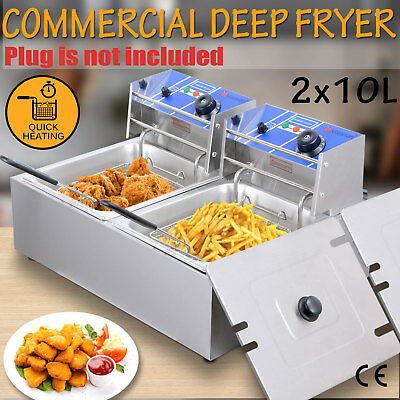 2X10L Commercial Electric Deep Fryer Twin Frying Basket Chip Cooker 5000W