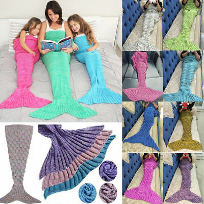 Crocheted Mermaid Blanket Knitted Tail Throw Super Soft Warm Rug Sleeping Bag