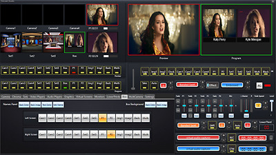 Video switcher software with live streaming 4 camera inputs green screen removal