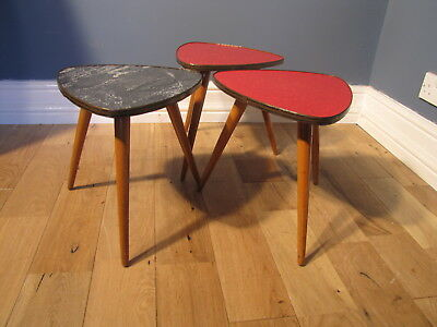 Set Of Three Small Vintage 1960's Formica Top Pebble Tables