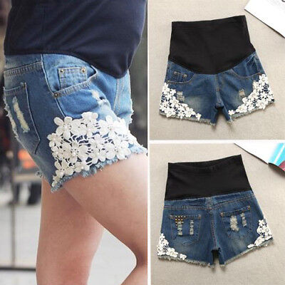 Women Denim Maternity Shorts Stretchy Belly Belt Stylish Crochet Pregnant Pants