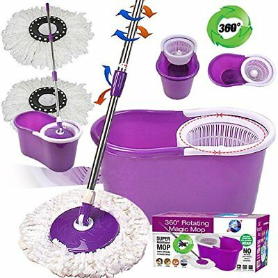 Super Spin Mops 360 Degree Spinning Mop Bucket Home Cleaning With 2 Mop Heads in
