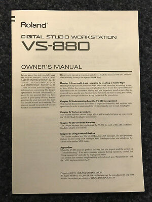 Roland | VS-880 | Digital Studio Workstation | Owner´s Manual | EN | NOS