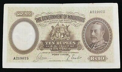 ND (1930) Government of Mauritius 10 Rupees P21 - GF - Waterlow & Sons - Rare
