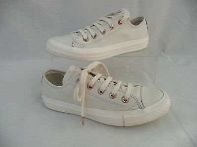 *converse All Star Rose Gold White Leather Ox Sneakers - Trainers  Sz 4 / 36.5*
