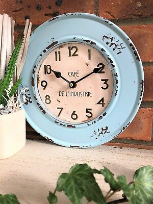 Vintage Rustic French Style Shabby Duck Egg Blue Metal and Glass Chic Wall Clock