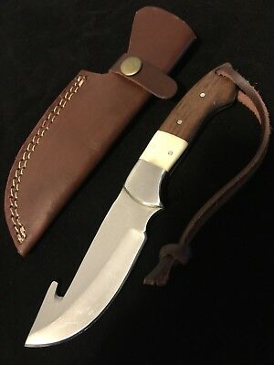 Survival Hunting Knife Brown Wood White Water Buffalo Bone Handle Leather Sheath