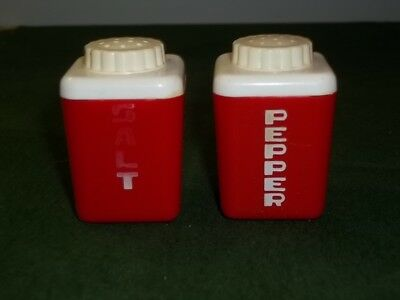 Vintage Sterilite Salt and Pepper Shakers Red White Mid Century