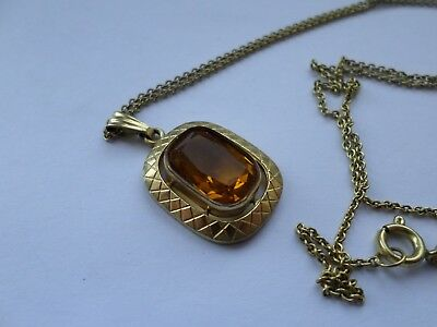 """Vintage 14 ct rolled gold 16"""" or 41 cm chain and 14ct RG pendant signed K&L"""