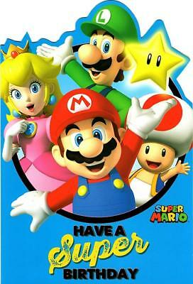 SUPER MARIO BIRTHDAY Card Princess Peach Toad Luigi 199