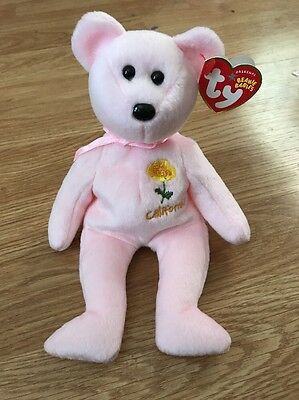 TY Beanie Babies Pink CALIFORNIA POPPY Bear
