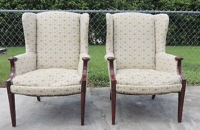 Pair (2) Antique/Vintage Upholstered Classic Arm Wing Back Chairs #3159