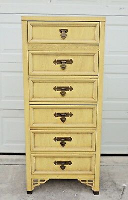 Vintage Dixie Shangri La Asian Chinoiserie Fretwork Tall Lingerie Chest Dresser