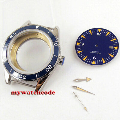 41mm blue ceramic bezel Watch Case blue dial + hand fit ETA 2824 2836 MOVEMENT