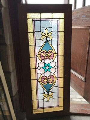 Sg 1983 Antique Stained And Beveled Combo Transom 22.5 X 54.5