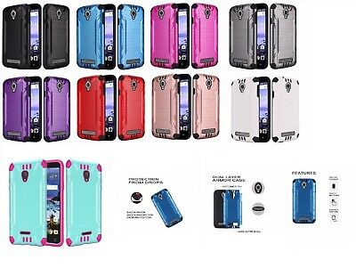 For Alcatel Raven LTE A574BL Brushed Hybrid Phone Cover Case