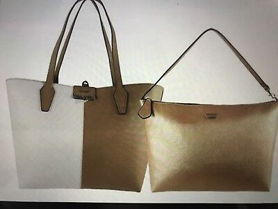 3882a61a3 WOMEN'S GUESS BOBBI INSIDE OUT REVERSIBLE TAN-gold leather tote bag MSRP$140