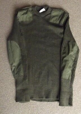 BRITISH ARMY ISSUED GREEN WOOLLY PULLEY JUMPER - 100 cm Large