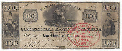1849 Commercial Bank of Columbia(SC) One Hundred Dollar Note RARE - 01076