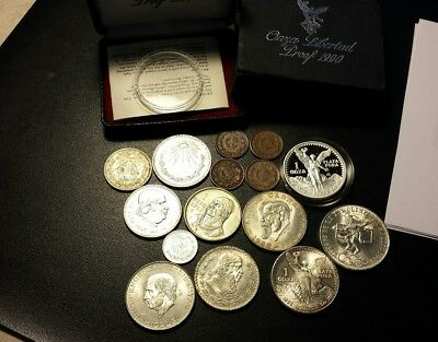 15 Mixed Mexico Coin Lot..1982 Double Die Libertad ,1990 Proof,olimpiadas + More