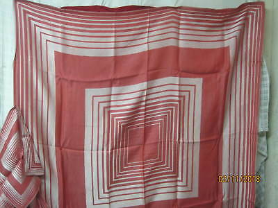 Vintage rayon/cotton woven Tablecloth 6 Napkins red with silver stripes
