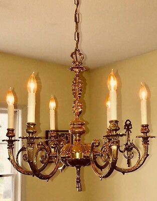Stately Vintage Solid Cast Brass French Chandelier No Crystal