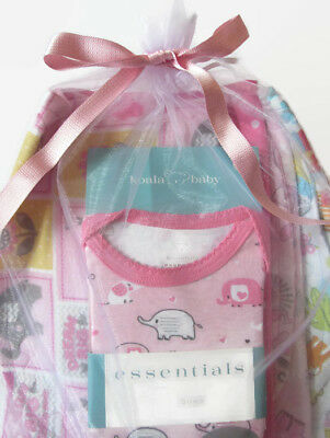 Baby Girl Gift Set 0-3 mos Pink Elephant Gown 4 Handcrafted Large Burp Cloths