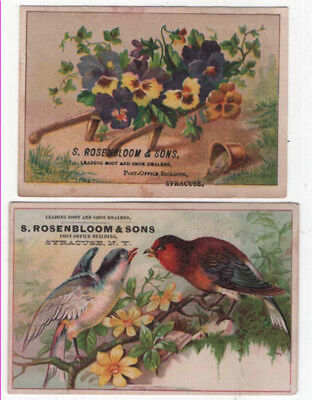 (2) Syracuse, NY,  S. ROSENBLOOM & SONS Trade Cards, Colorful Birds & Flowers