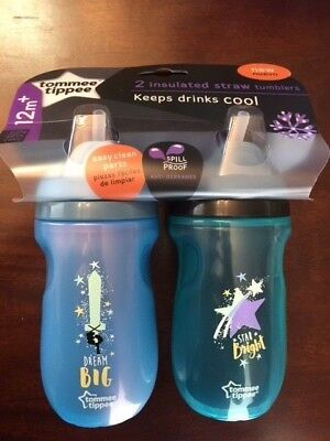 NEW Tommee Tippee Insulated Flippee Straw Cup Blue Dream Big Star Bright Cute