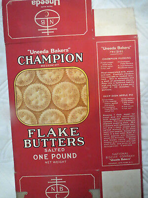 Vintage National Biscuit Company Champion Flake Butters advertising box
