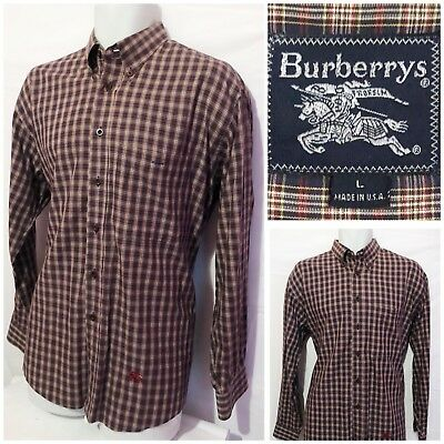 Vintage Burberry's Mens Cotton Plaid Check Button Front Shirt Size L (B13)