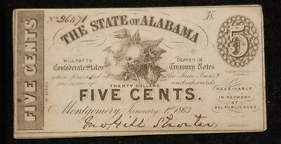 1863 Confederate 5 cent fractional State of Alabama currency Montgomery (inv#19)