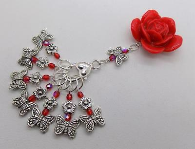 Red ROSE & BUTTERFLY Knitting Stitch Markers & Holder - upto 7mm needles