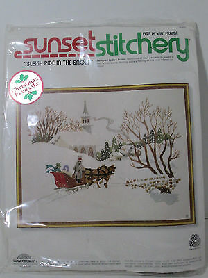 Vintage Sunset Stitchery Sleigh Ride in the Snow 1979 Holiday #2085