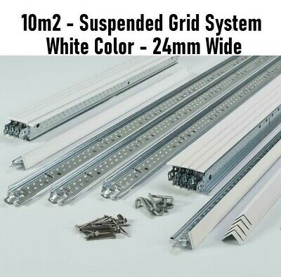 10m2 White Suspended Ceiling Grid System 600x600 x 24mm Complete Grid - No Tiles